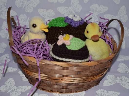 Flocked ducks and crocheted eggs from Celeste