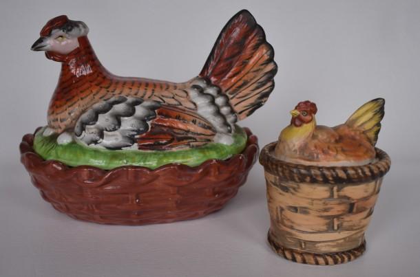 Hens on baskets